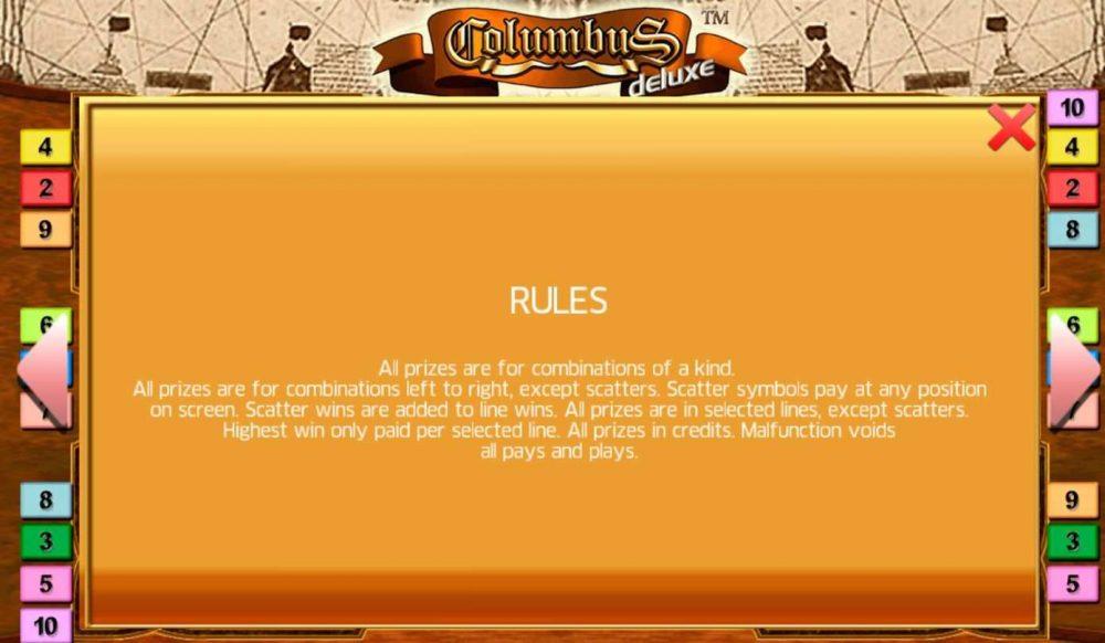 Columbus Deluxe Slot-Regeln